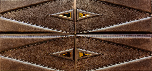 beautiful gorgeous closeup view of dark brown detailed leather interior wall decorative tiles background