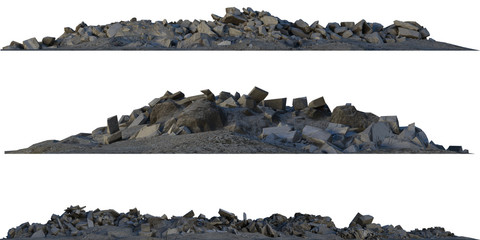Heaps of rubble and debris isolated on white 3d illustration