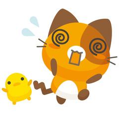 ネコとーく。三毛猫+ぴよ