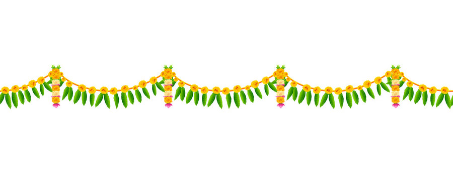 Flower garland decoration toran for Happy Diwali Holiday background