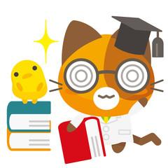 ネコとーく。三毛猫+博士