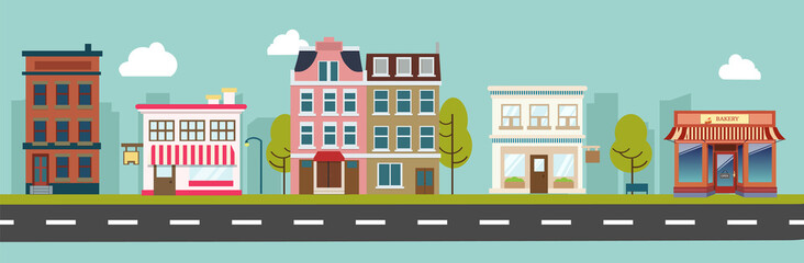 City street and store buildings vector illustration, a flat style design. Wall mural