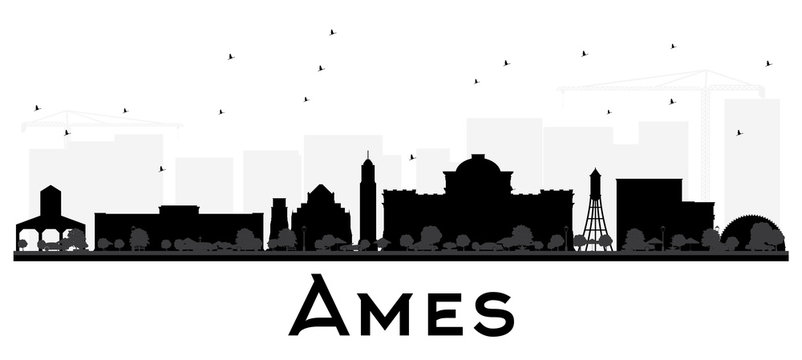 Ames Iowa skyline black and white silhouette.