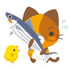ネコとーく。三毛猫+鰹