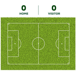 Soccer line, game score display and green grass field background