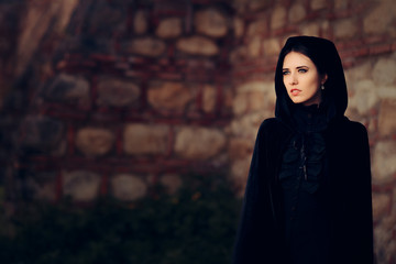 Beautiful Dark Princess in Black Hooded Cape