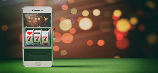 Slot machine on a smartphone screen, green felt and abstract background. 3d illustration