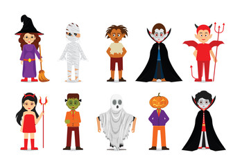 Set of Halloween cartoon characters.