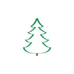 Simple vector christmas tree original New Year card.
