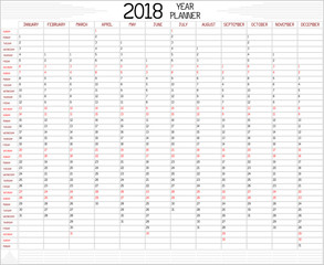 Year 2018 Planner - An annual planner calendar for the year 2018 on white. A custom handwritten style is used.