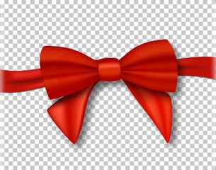 Illustration of Vector Red Ribbon. 3D Realistic Ribbon Isolated on Transparent Background