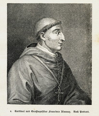 Francisco Jiménez de Cisneros, Spanish cardinal, religious figure, and statesman (from Spamers Illustrierte Weltgeschichte, 1894, 5[1], 9)