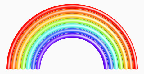 design element. 3D illustration. toy glossy plastic rainbow isolated on white