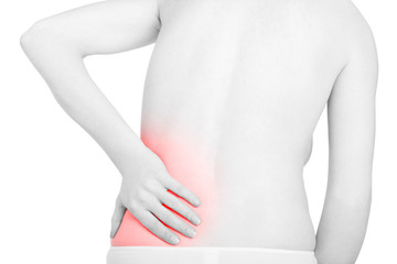 Young woman touching lower back red painful part, backache isolated on white, clipping path