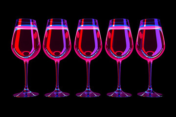 design element. 3D illustration. rendering. neon color lighted wine glass set