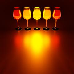 design element. 3D illustration. rendering. warm color  lighted golden wine glass set