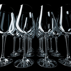 design element. 3D illustration. rendering.  lighted wine empty glass set