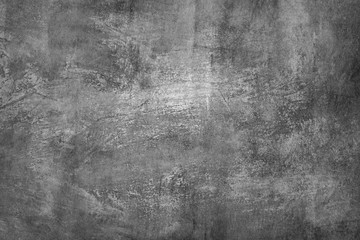 Black and white (shades of gray), grungy abstract painting. Textured background.