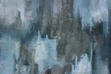 Close up photograph of a hand painted, grungy, abstract painting on paper. Shades of blue, grey, and white. Large contemporary, textured background.