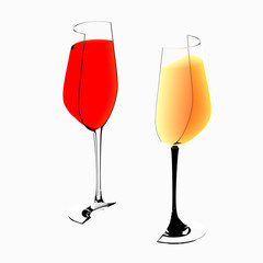 design element. 3D illustration. rendering.  lighted half tiled wine glass with wine