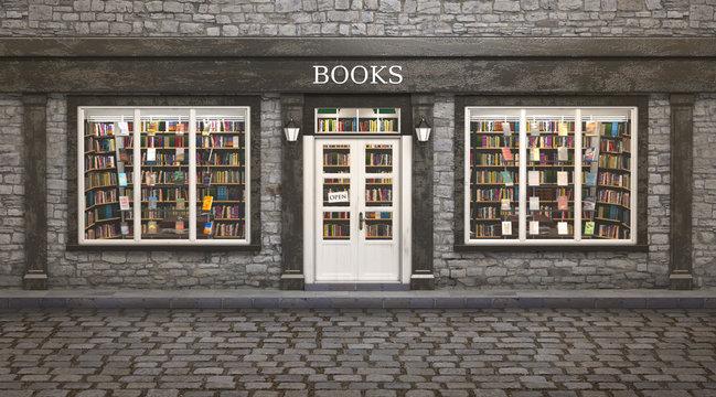 Book store exterior, 3d illustration