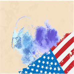 American Flag. Watercolor Vector image of American Flag.