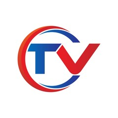 tv logo vector modern initial swoosh circle blue and red
