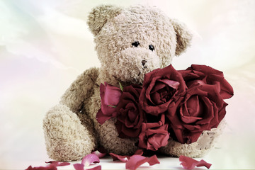 Lovely teddy bear with rose vintage style