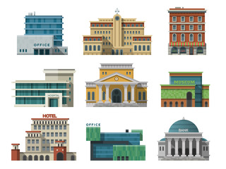 Different city public buildings houses set flat design office architecture modern street apartment vector illustration.