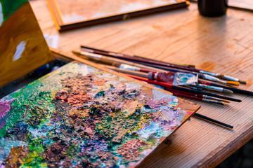 Artisti e pittori di strada a Santa Maria Maggiore, Valle Vigezzo, Verbania, Piemonte, Italia