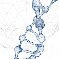 DNA molecules design illustration. 3d rendering