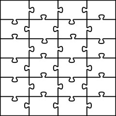 Jigsaw puzzle vector background. 24 pieces. Two additional layers. One with just outlines. The other one with just pieces. Easy to edit and put over a picture.