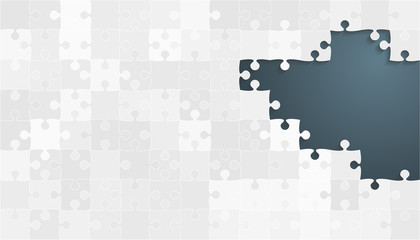 White Grey Puzzles Pieces - Vector Jigsaw