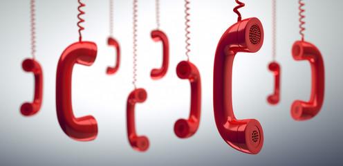 Rote hängende Telefonhörer