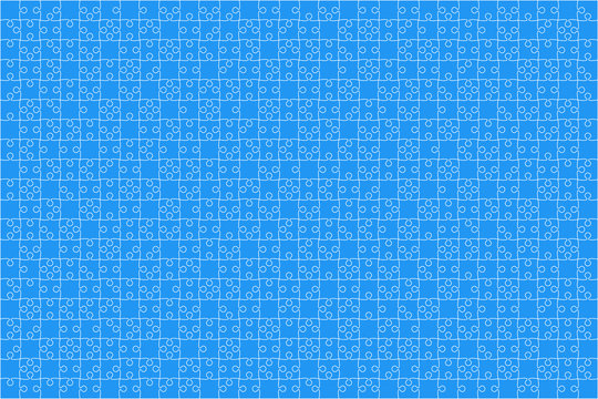 Blue Puzzles Pieces Jigsaw - Vector Background.