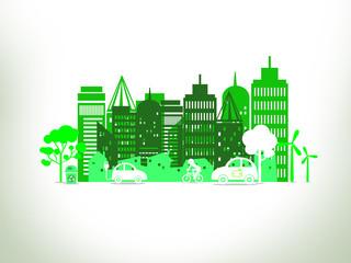 Eco city concept on white background