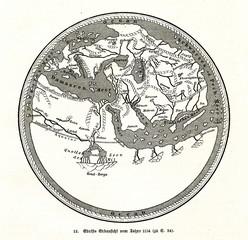 World map by Muhammad al-Idrisi, 1154 (from Spamers Illustrierte Weltgeschichte, 1894, 5[1], 33)
