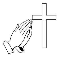 Praying Hands and orthodox cross