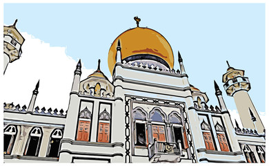 Vector Sketch with color of Sultan Mosque in Singapore in illustration.
