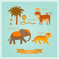 vector cartoon illustrations of amusing Indian animals