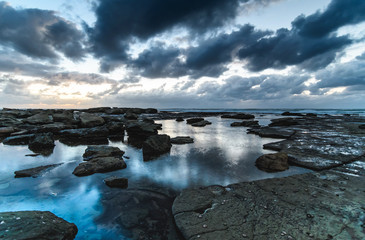 Cloudy Reflections Dawn Seascape
