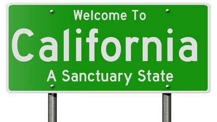 A 3d rendering of a highway sign for California, a sanctuary state