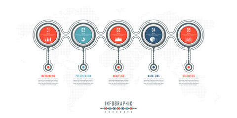 Abstract infographic timeline business template with options, parts, steps or processes. Vector infographic illustration can be used for chart, diagram, web design, presentation, workflow layout