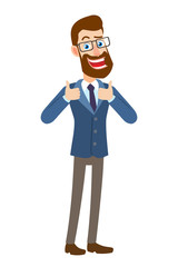 Hipster Businessman showing thumb up