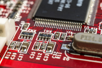 Circuit board with processor close-up of electronic macro