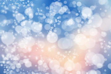 Magic Christmas background. Bokeh or glitter lights on dark backdrop. Round defocused particles