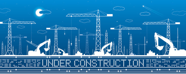 Under construction illustration. Development panorama, industrial landscape, building cranes, excavators, vector lines design art