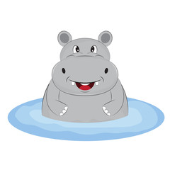 Greeting card cute happy hippo  on the beach.  Illustration done in cartoon style.