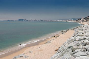 Gelbes Altes Boot Am Strand Meer Von Barcelona Spanien Buy This