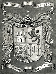 Coat of arms of Christopher Columbus, Italian explorer (from Spamers Illustrierte Weltgeschichte, 1894, 5[1], 60)